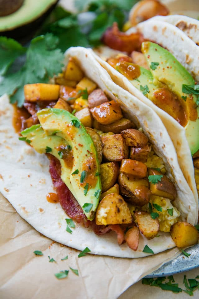soft tacos filled with potatoes, eggs, bacon and avocado
