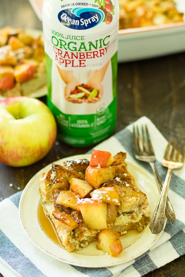 This Cranberry Apple French Toast Bake, sponsored by Ocean Spray, is going to be perfect for the holidays and would be great for any time you want a fun breakfast without a ton of work or prep!All thoughts and opinions in this post are, as always, my own.