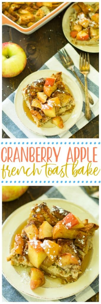 This Cranberry Apple French Toast Bake, sponsored by Ocean Spray, is going to be perfect for the holidays and would be great for any time you want a fun breakfast without a ton of work or prep! All thoughts and opinions in this post are, as always, my own.