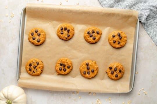 healthy pumpkin cookies on a sheet pan