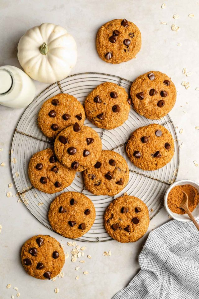 healthy chocolate chip pumpkin cookies on a wire cooling rack
