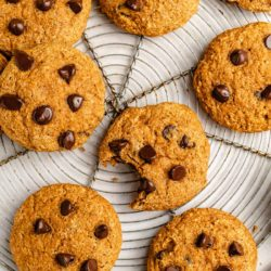 healthy pumpkin cookies topped with chocolate chips