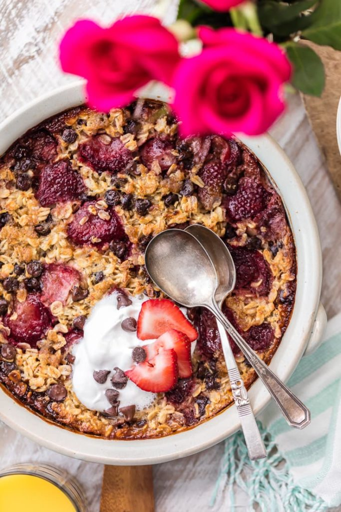 Chocolate Covered Strawberry Baked Oatmeal