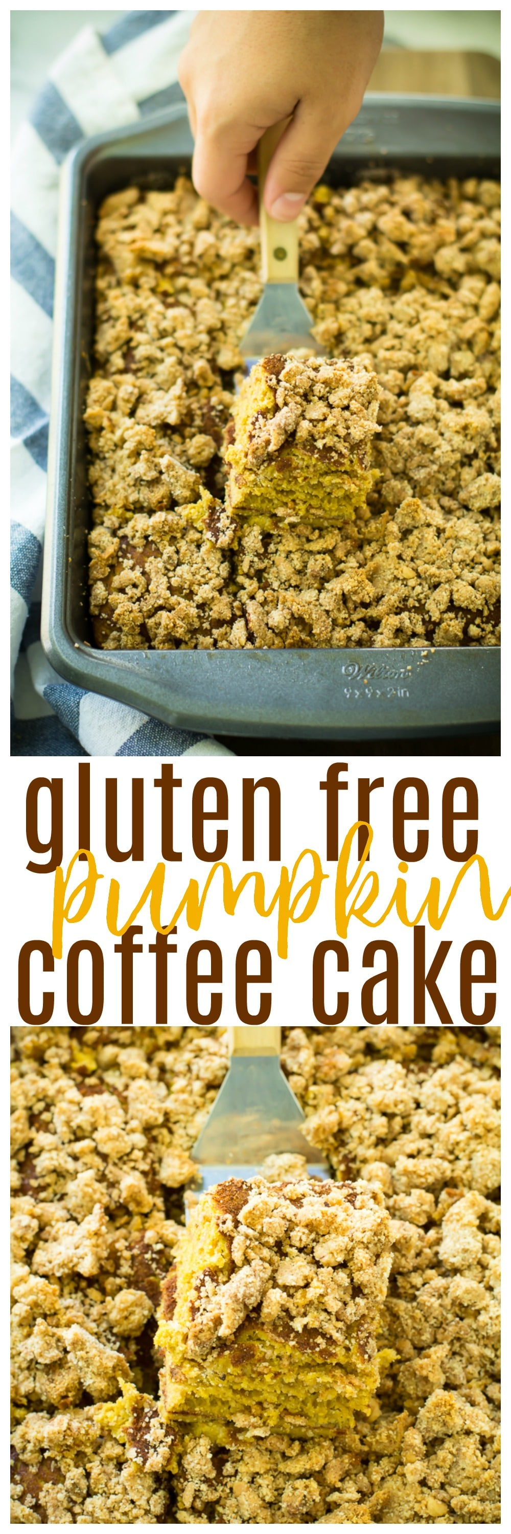 This Gluten Free Pumpkin Coffee Cakeis hearty, easy to make, and infused with delicious pumpkin flavors. It's perfect for holiday gatherings and cozy afternoons alongside coffee or tea.