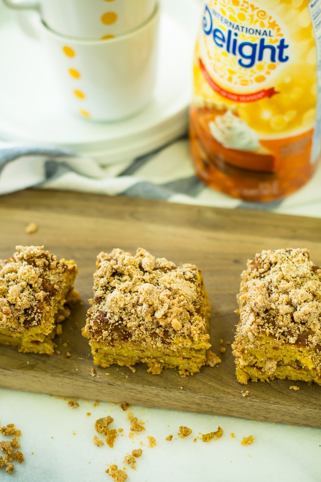 This Gluten Free Pumpkin Coffee Cake is hearty, easy to make, and infused with delicious pumpkin flavors. It's perfect for holiday gatherings and cozy afternoons alongside coffee or tea.