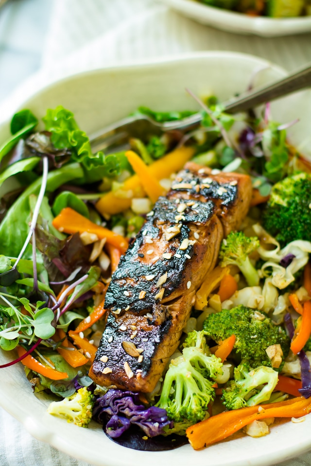 This Blackened Ginger Glazed Salmon has just 6 ingredients and is light, healthy, and super easy. It also has the best flavor, even non fish lovers like it! Get a wholesome dinner on the table in no time at all! Paleo, low carb, and real food deliciousness!