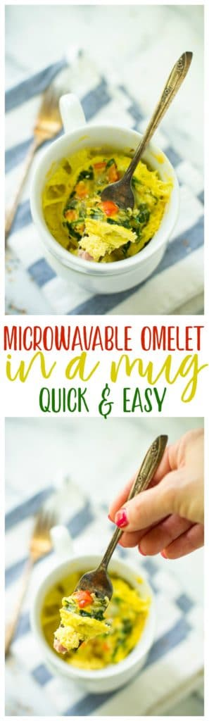 With this Microwavable Omelet in a Mug, you're only 2 minutes away from a satisfying, tasty breakfast that can be easily customized. No matter how you eat it, a flavorful breakfast never got easier! Gluten Free + Low Calorie + Paleo