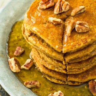 Healthiest Pumpkin Oat Protein Pancakes