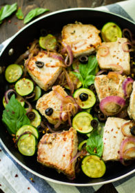 Easy One Skillet Pork Tenderloin Medallions with zucchinimakes for an easy one pan meal! It's protein and veggie packed, nourishing, paleo, low carb, and ready in less than 30 minutes. You and your familywill love this flavorful pork loin skillet dish, that's perfect for busy weeknights!
