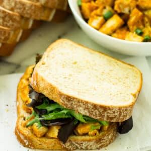 Barbecue Pumpkin Chicken Salad Sandwich