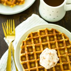 An incredibly easy to make recipe, these Gluten-Free Pumpkin Protein Waffles work as a delicious breakfast, snack, or even cozy dessert!