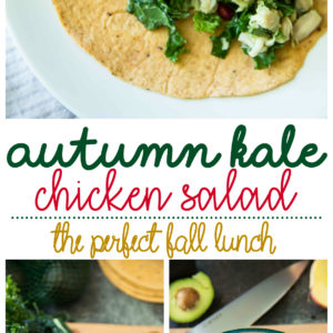 Autumn Kale Chicken Salad features apple, avocado and almonds in this delicious fall salad recipe. Serve this easy salad in a wrap for a yummy lunch!