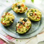 Greek Tuna Salad Stuffed Avocados - a fresh, light recipe when you need a quick fix, no cook meal.