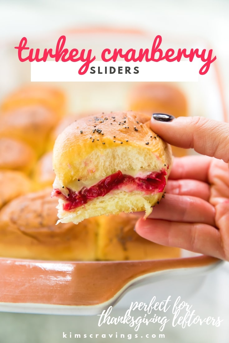 Turkey Cranberry Sliders are a quick and easy recipe idea to use up that leftover turkey and cranberry sauce from the holidays! Hawaiian rolls are loaded with turkey, cranberry sauce and your favorite cheese for a tasty lunch or dinner after the big meal. #thanksgiving #thanksgivingleftovers #turkeysliders