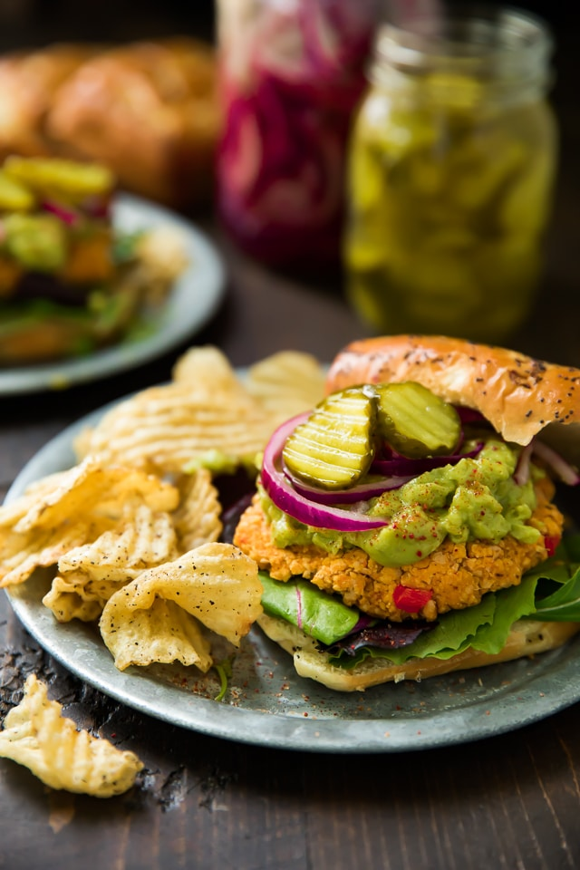These ridiculously healthy, flavorful Sweet Potato Veggie Burgers feature sweet potato, chickpeas, and southwest seasonings! Gluten free optional and easy to make.