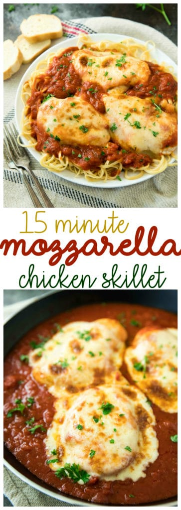 This 15 Minute Mozzarella Chicken Skillet is quick, cheesy, saucy and so delicious. One dish you definitely don't want to miss!