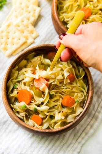 Loaded with good-for-you ingredients and full of flavor and comfort- this Easy Chicken Noodle Soup is perfect for chilly weather, but not too heavy for warmer days!