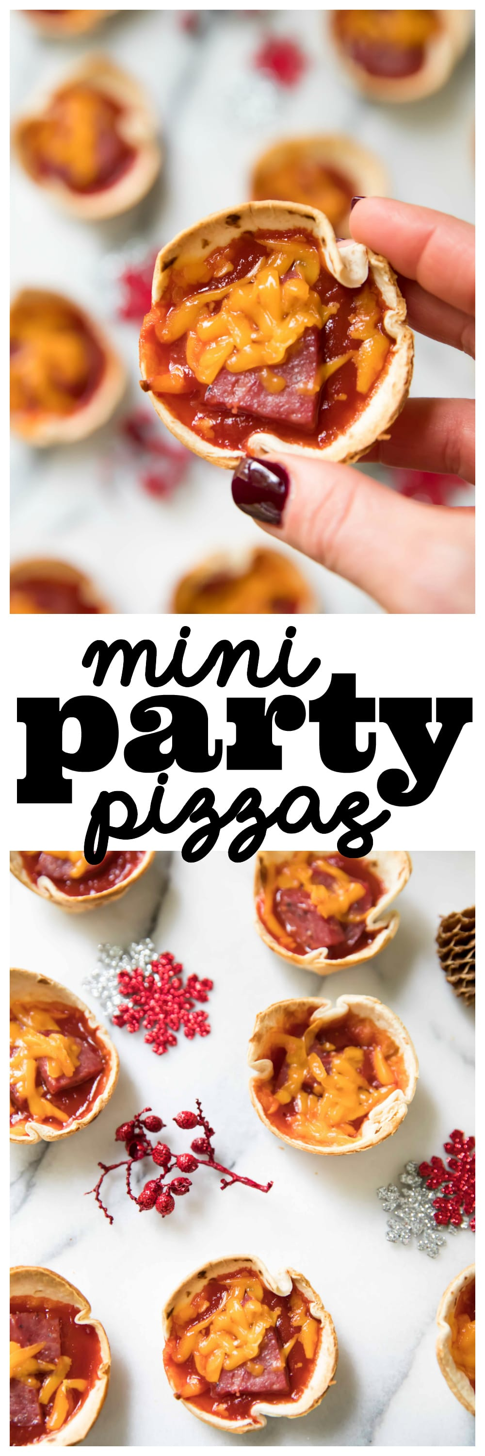 These crowd pleasing mini party pizzas are cheesy and for Easy tailgating recipes for a crowd