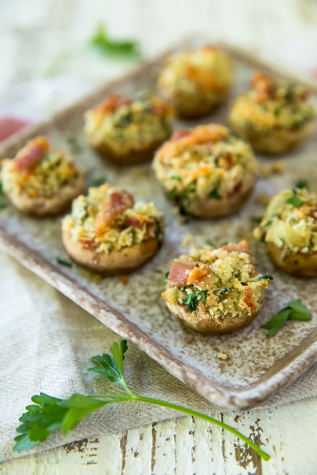 Bacon Stuffed Mushrooms on a serving platter