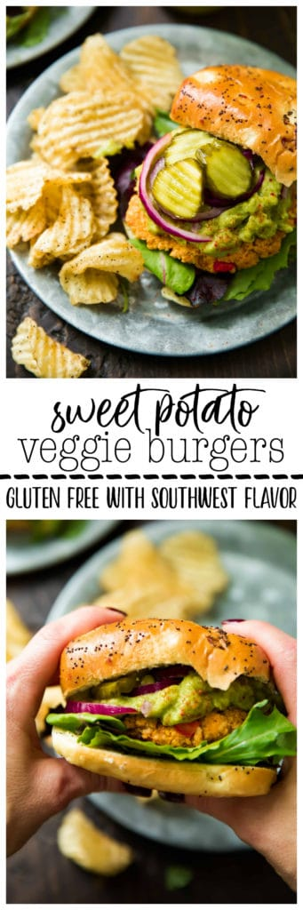 These ridiculously healthy, flavorful Sweet Potato Veggie Burgersfeature sweet potato, chickpeas, and southwest seasonings! Gluten free optional and easy to make.