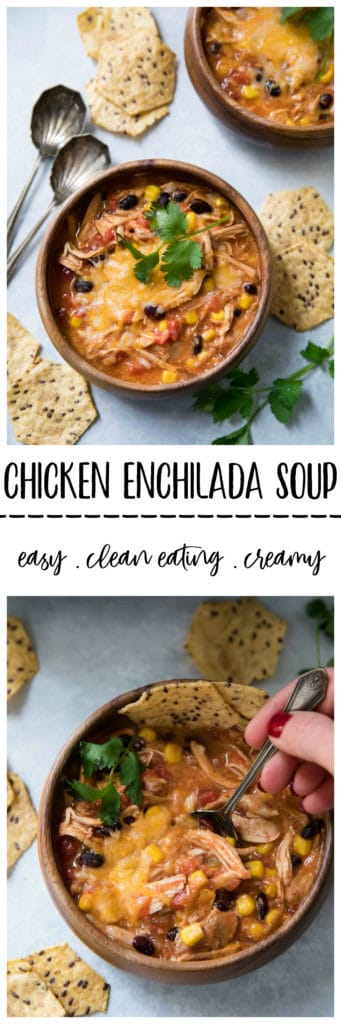 This Clean Eating Creamy Chicken Enchilada Soup is a quick and easy meal that is full of amazing flavors and is perfect for a chilly, busy day!