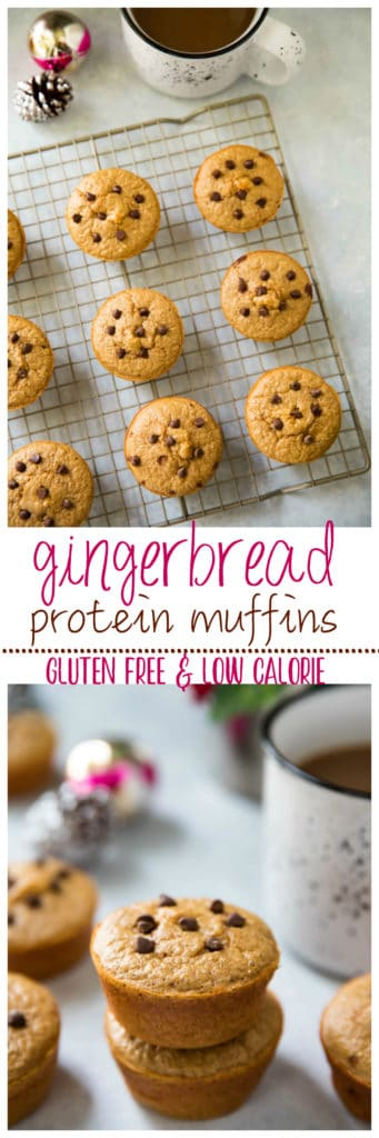 These quick and easy Gingerbread Protein Muffins are a spicy-sweet, cozy grab-n-go option for breakfast or snack that is healthy and gluten free!