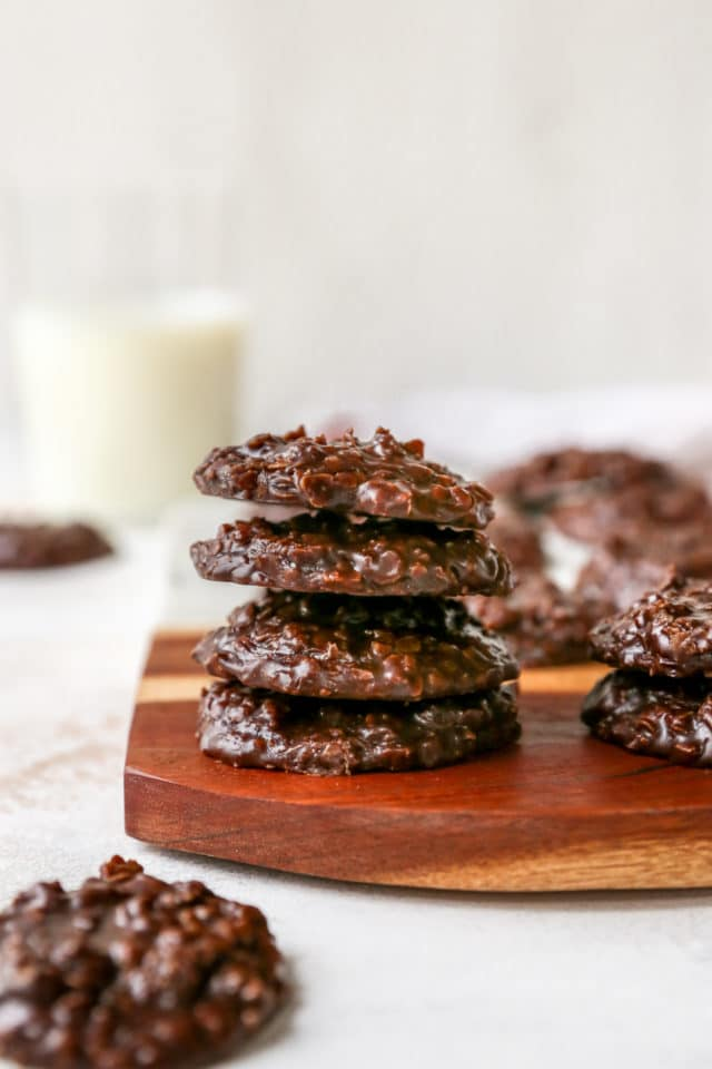 a stack of peanut butter no bake cookies