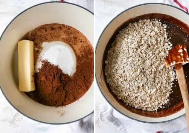 stir oats in chocolate peanut butter mixture
