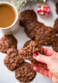 chocolate peanut butter no bake cookies served with coffee