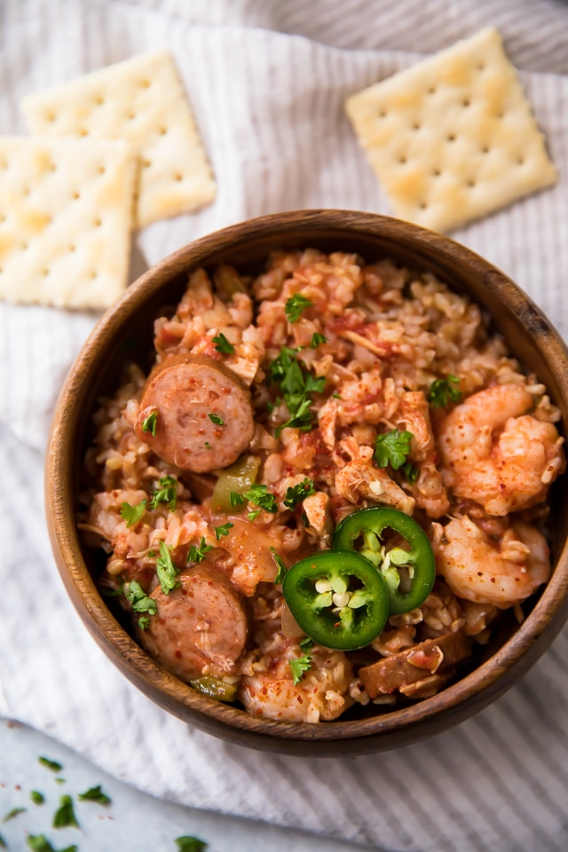 Jambalaya with smoked sausage and shrimp served with saltines