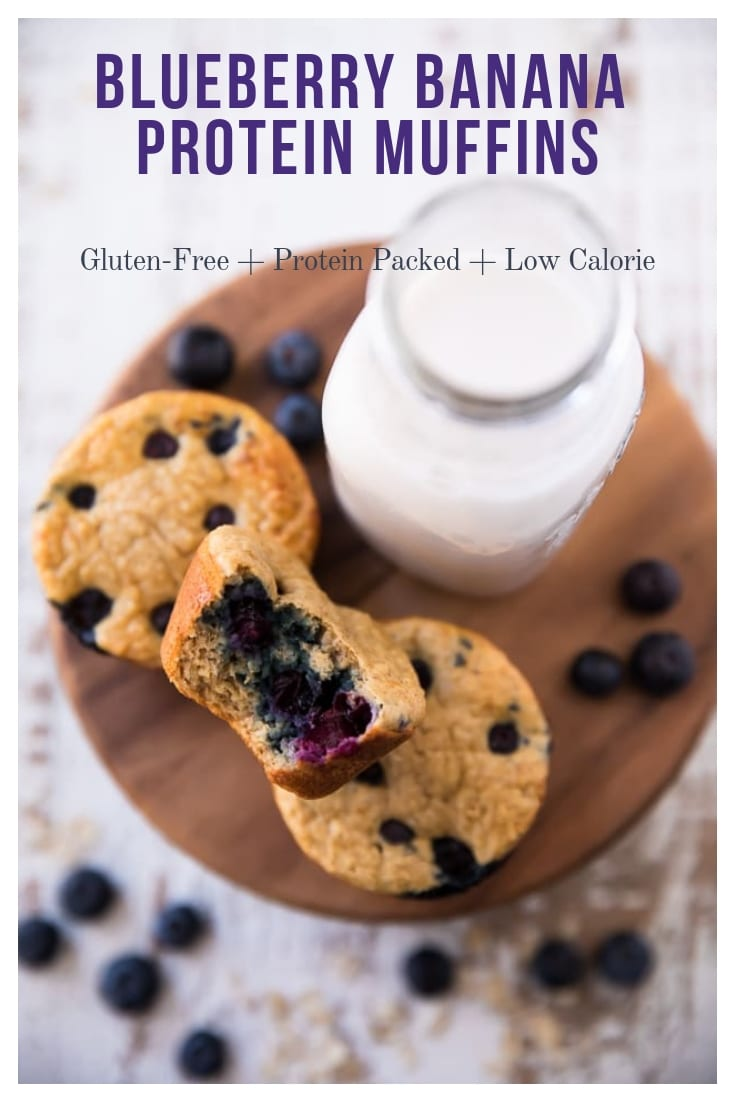 Blueberry Banana Power Muffins, everything you could ever want in a blueberry muffin!Nearly fat free, less than 100 calories and packed w/ over 7 grams of protein and so much deliciousness. You won't miss the calories and fat, trust me! #blueberryproteinmuffins #proteinmuffins #blueberrymuffins