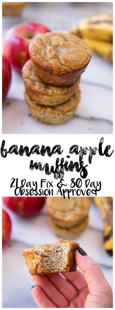 Flourless Banana Apple Muffins made in the blender with only a handful of simple ingredients! They're gluten-free, dairy-free, refined sugar free and 21 Day Fix and 80 Day Obsession meal plan approved; so they make a deliciously healthy treat for when those cravings hit.