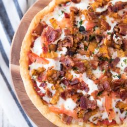 This Butternut Squash, Bacon, Goat Cheese Pizza comes complete with sweet butternut squash, bacon, three yummy cheeses (including my favorite - goat cheese)and the most phenomenal crispy cornmeal crust.