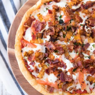 Butternut Squash, Bacon, Goat Cheese Pizza