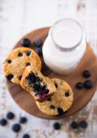 Blueberry Muffins sitting near a bottle of milk