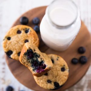 Blueberry Muffins sitting near a bottle of milk