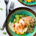 Easy Fried Egg, Rice, Avocado Bowl