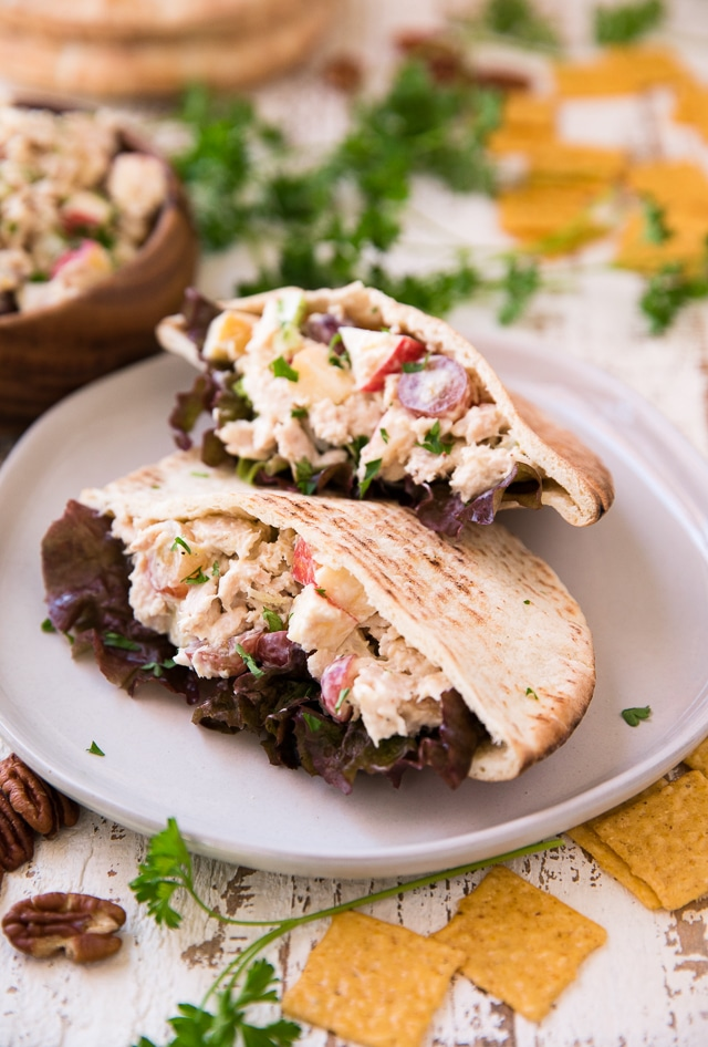 Looking for a fun healthy lunch idea? Well, I've partnered with Blue Harbor Fish Co to bring you these delicious Waldorf Tuna Salad Pitas that are light and fresh, full of flavor and only take about 5 minutes to make!
