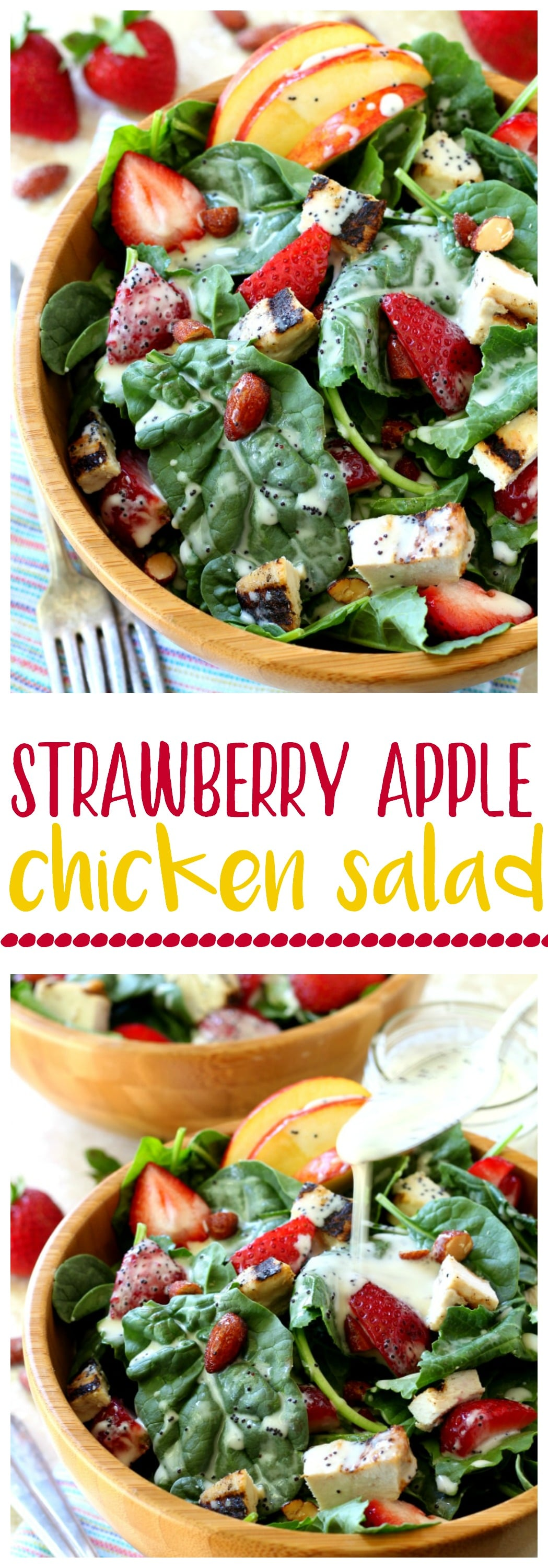 Thisquick and tasty favorite Strawberry Apple Chicken Salad is filled with plump juicy strawberries, sweet apple slices, crunchy almonds and topped off with the most wonderful poppy seed dressing you've ever tasted!