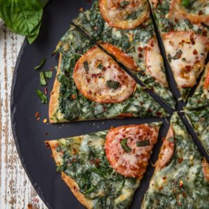 Skinny Garlic Spinach White Pizza