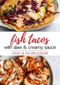 easy and flavorful fish tacos with cod, cabbage slaw, and creamy sauce