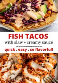 instructions for making fish tacos with cod, cabbage slaw, and creamy sauce