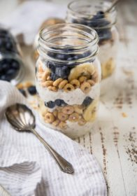 "Say ""goodbye"" to boring breakfasts! These Make-Ahead Blueberry Banana Breakfast Parfaits taste like a decadent dessert... for breakfast! Make them the night before or in a matter of minutes in the morning. Perfect as a morning meal or even a snack!"