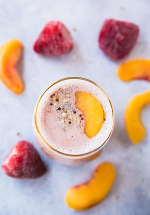 This Tickled Pink Strawberry Peach Protein Smoothie made with a combo of two of my favorite fruits ispacked with protein, antioxidants, vitamin C, and potassium. It's alsosimple, fruity and refreshing! The perfect treat for breakfast, snack, or even dessert!