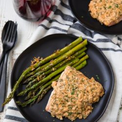 This Garlic Parmesan Salmon and Asparagus dish is acomplete sheet pan supper with ONE PAN to clean! And is made extra deliciouswith an epic garlic parmesan crust! So easy and SUPER tasty!
