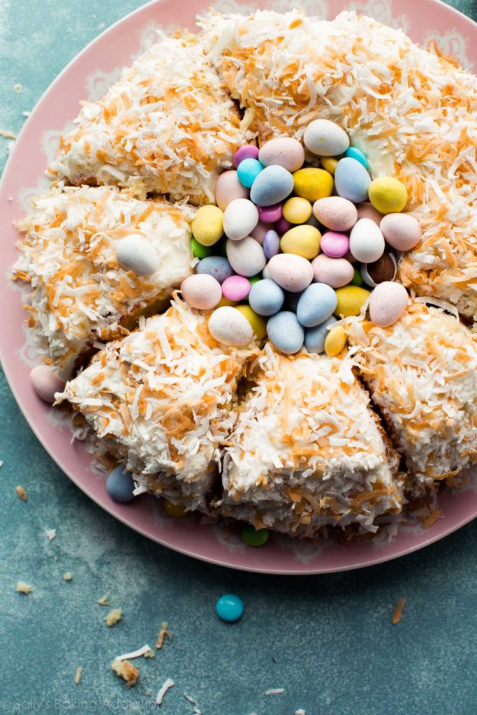 An easy festive cake is double the fun with Easter candy on top!