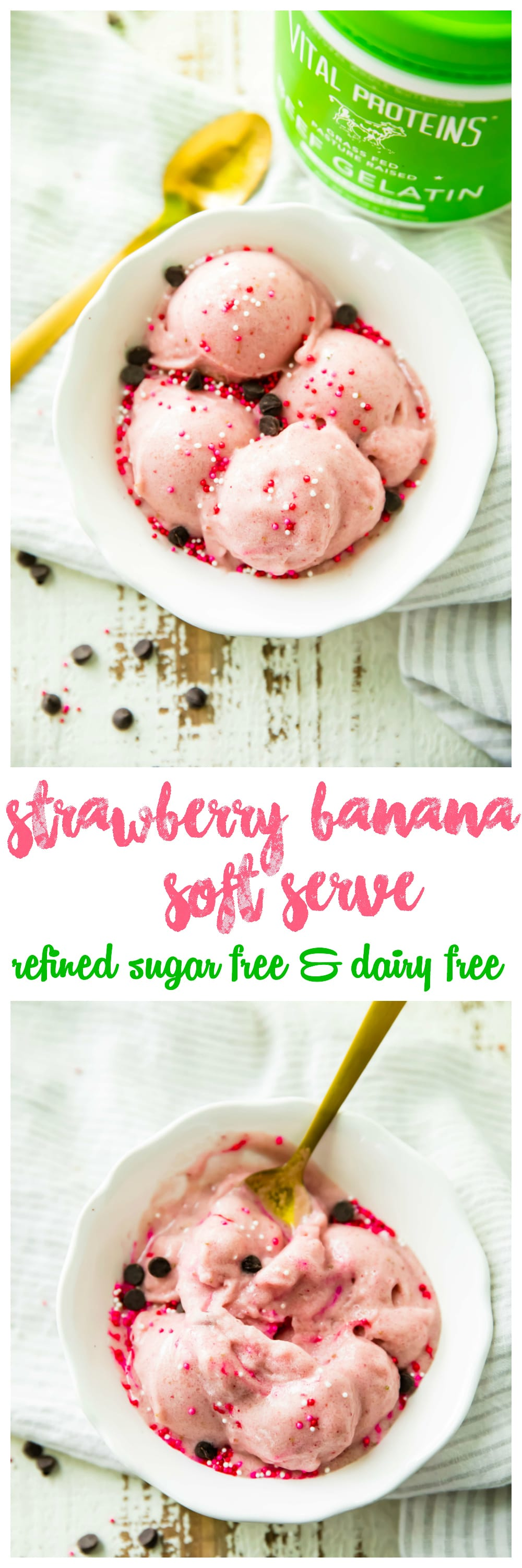 Strawberry Banana Soft Serve ready in minutes, in the comfort of your own home, and all for under 100 calories per serving. Did I also mention there is no added sugar, it's high in protein, and 100 percent delicious, creamy, and nutritious? Yep, it's true! Be prepared to enjoy ice cream in a whole new way!