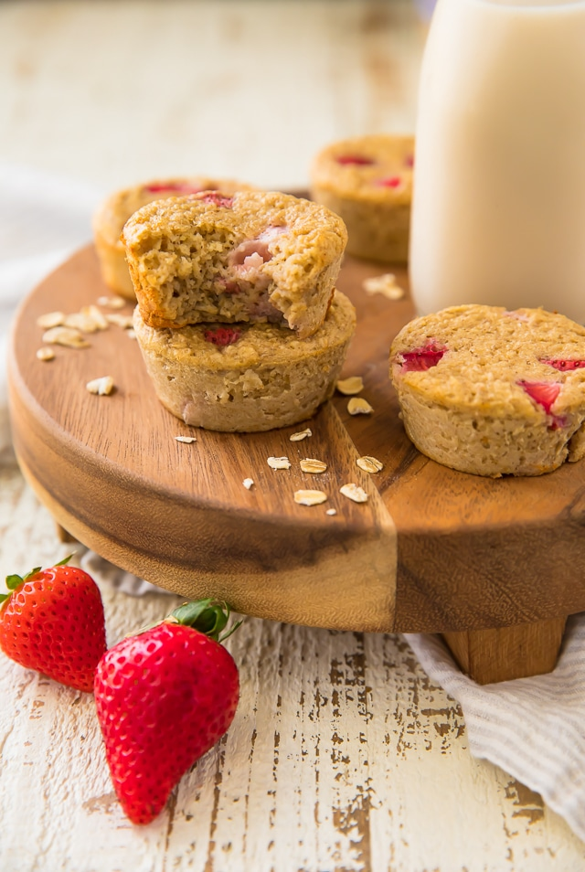These Flourless Strawberry Banana Oat Protein Muffins are the perfect breakfast flavor bombs! They're nearly fat free, less than 100 calories and packed with over 7 grams of protein and so much deliciousness. You won't miss all the calories and fat, trust me!