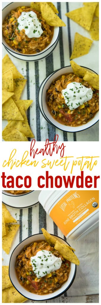Cue the jazz hands, people! Today we're making a luscious, flavor-packed, rock-your-face-off Chicken Sweet Potato Taco Chowder! It's rich and creamy without the need for any dairy! The secret is in the sweet potatoes!