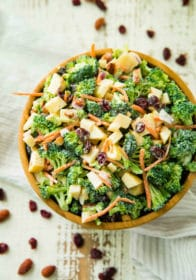 Healthy Broccoli Apple Salad served in a large wooden salad bowl